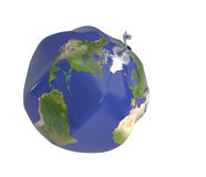 Save the Earth concept. Deflated beach ball with Earth map. 3D render. Clipping path royalty free illustration