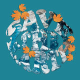 Save the Earth concept in blue and orange. Earth Day environmental concept in contrasting colors of blue and orange with leaves and letters in the shape of a royalty free illustration