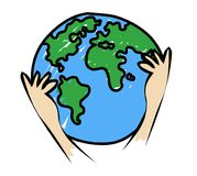 Save earth.Hands holding earth illustration. Royalty Free Stock Photo