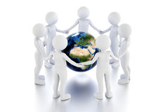 Save the earth concept. Toon men protect the globe in a circle. Stock Photography