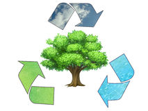 Save the earth - conceptual recycling symbol Stock Images