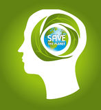 Save the earth. Design over green background vector illustration Royalty Free Stock Images