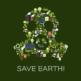 Save Earth. Eco environment banner. Save Earth. Environment protection symbol in shape of gas mask. Natural energy and electricity sources vector elements of Stock Image