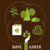 Save Earth and ecology flat concept Stock Image