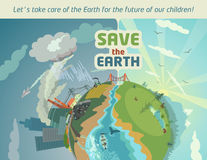 Save the Earth for the future of our children. Lets take care of the Earth for the future of our children! Ecological poster Royalty Free Stock Image