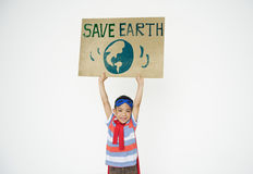 Save Earth Global Environment Boy girl Concept Stock Photos