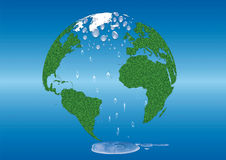 Save the Earth global warming green grass  globe Royalty Free Stock Photography