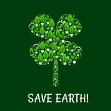 Save Earth green eco energy vector poster Stock Image
