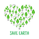 Save Earth. Green leaf energy poster. Save Earth poster. Energy saving green leaf and lamp bulb symbols. Vector eco energy icon in heart shape. Environmental Royalty Free Stock Images