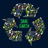Save earth icons in shape of recycle sign Royalty Free Stock Photo