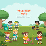 Save Earth. Kids planted and watering young trees. Save Earth. Kids planted and watering young trees, gathering garbage and plastic waste for recycling stock illustration