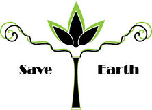 Save earth. Logo design in green and black Royalty Free Stock Image