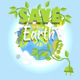 Save Earth Logo Design with Planet, Electric Plug. Save earth logo design with planet and green electric plug in form of growing plant, clean environment concept Royalty Free Stock Photo