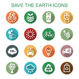 Save the earth long shadow icons Stock Photos