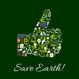 Save Earth nature protection thumbs up symbol Royalty Free Stock Photo