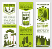 Save Earth planet nature vector banners template Royalty Free Stock Photography