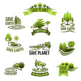 Save Earth Planet vector ecology protection icons. Save Earth icons for green nature and planet environment conservation concept. 22 April global ecology Stock Photos