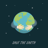 Save The Earth, Save The Planet. Businessman hugging the planet, save the planet Stock Image