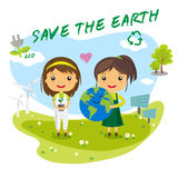 Save the earth - save world. Save the Earth, save the world ecology concept, cartoon character Stock Photos