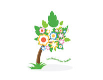 Save the Earth save the world. Tree and flower is save the world concept Stock Photo