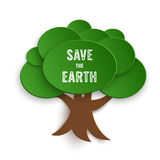 Save the Earth Stamp on Paper Cut Tree vector illustration