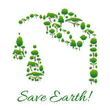 Save Earth symbol of trees in gasoline drop shape Stock Images