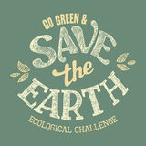 Save the Earth t-shirt design Stock Images