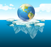 Save the earth theme with earth on ice Royalty Free Stock Photos