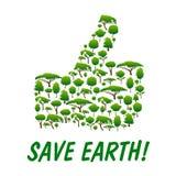 Save Earth. Thumb up shape emblem Stock Photos