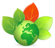 Save the earth - vector. Illustration promoting recycling and protection  to save the earth. The leaves arround globe express concept of non-poluting environment Royalty Free Stock Images