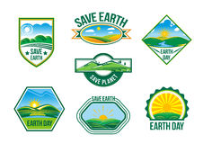 Save Earth vector nature ecology badges set Royalty Free Stock Photography