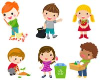 Save Earth. Waste recycling. Children planted young trees. Girl watering flowers from watering can. Kids gathering plastic bottles for recycling. Isolated royalty free illustration