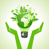Save eco earth with bulb Royalty Free Stock Images