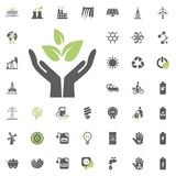 Save ecology icon. Eco and Alternative Energy vector icon set. Energy source electricity power resource set vector. Save ecology icon. Eco and Alternative Royalty Free Stock Photos