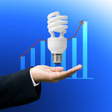 Save electricity power ,Lighting concept. Save electricity power, Compact flourescent lamp in businessman's hand stock images