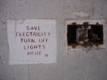 Save electricity sign Stock Image