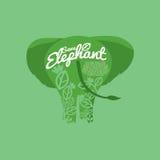 Save Elephant Conservative Concept. Vector Illustration Stock Photos