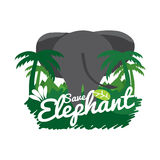 Save Elephant Conservative Concept. Vector Illustration Stock Images