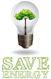 Save energy adverts with lightbulb and tree Stock Photos