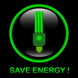 Save energy button. Black glossy buttons with energy saving bulb Stock Images