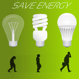 Save energy concept. Evolution from incandescent lamp. To led lamp similar to human evolution. Vector illustration Stock Photo