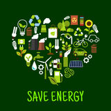 Save energy concept icons in shape of heart. Ecological forest and sunflower and green plant, light bulb and solar energy, eco beg and toxic can, recycle sign Stock Photos