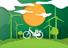 Save energy concept paper art style. Stock Photo