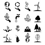 Save energy and environment icons set. Save energy and environment concept icons set ,green concept, globe with hand represent enery saving and love the earth Royalty Free Stock Images