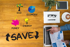 SAVE  Energy and Environmental and save investment Royalty Free Stock Photo