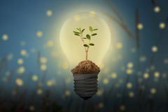 Save Energy, with the fireflies and bulb concept. royalty free illustration