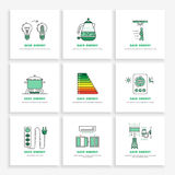 Save energy home. Vector posters save energy during everyday use of the home. Set of banners concept-saving energy consumption Stock Images