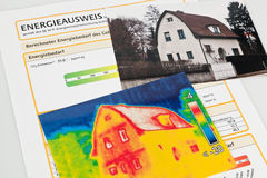 Save energy. house with thermal imaging camera Royalty Free Stock Photos