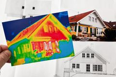 Save energy. house with thermal imaging camera. Save energy through insulation. house with thermal imaging camera photographed Stock Photography