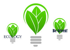 Save energy icon with light bulb Royalty Free Stock Photos
